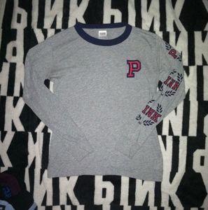 XS Gray PINK Long Sleeve Logo Shirt